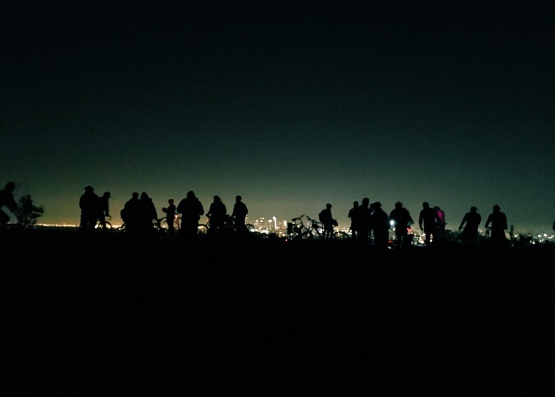 Photo: City Night Shift's third anniversary bike ride @ Helipad in Griffith Park.